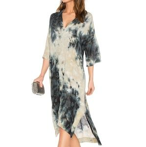 Enza Costa short sleeve tie dye v-neck caftan